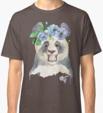 Panda bear in a flower band Classic T-Shirt