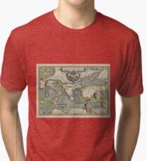 Vintage Map of The Mediterranean Sea (1608) Tri-blend T-Shirt