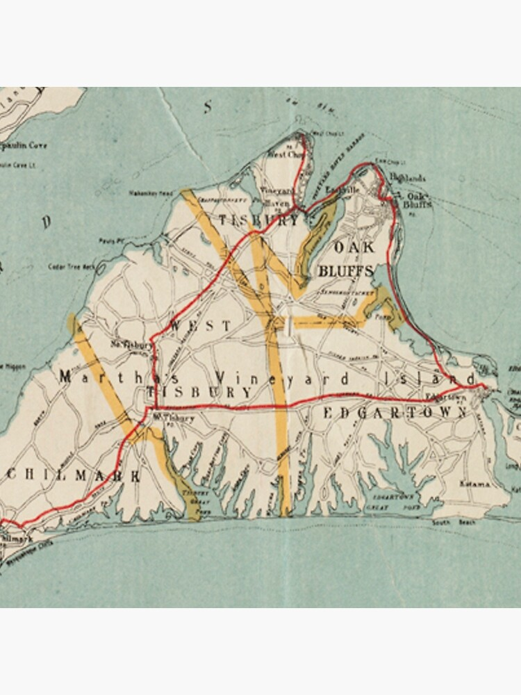 Mapa vintage de Martha's Vineyard (1917) de BravuraMedia