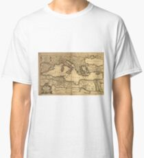 Vintage Map of The Mediterranean Sea (1685) Classic T-Shirt