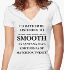 THE ORIGINAL Listening to Smooth Women's Fitted V-Neck T-Shirt