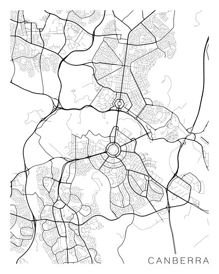 Australia Canberra Map.Canberra Map Australia Black And White Posters By Mainstreetmaps