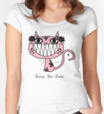 Cute Happy Pink Cartoon crazy Cat Lady  Women's Fitted Scoop T-Shirt