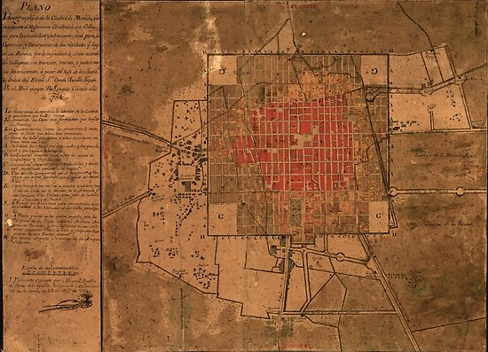Vintage Map of Mexico City Mexico (1800)\