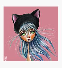 Kit Cat :: Girl in Her Kitty Hat Illustration Photographic Print