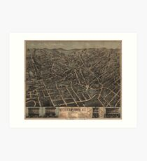Vintage Pictorial Map of Middletown NY (1874) Art Print