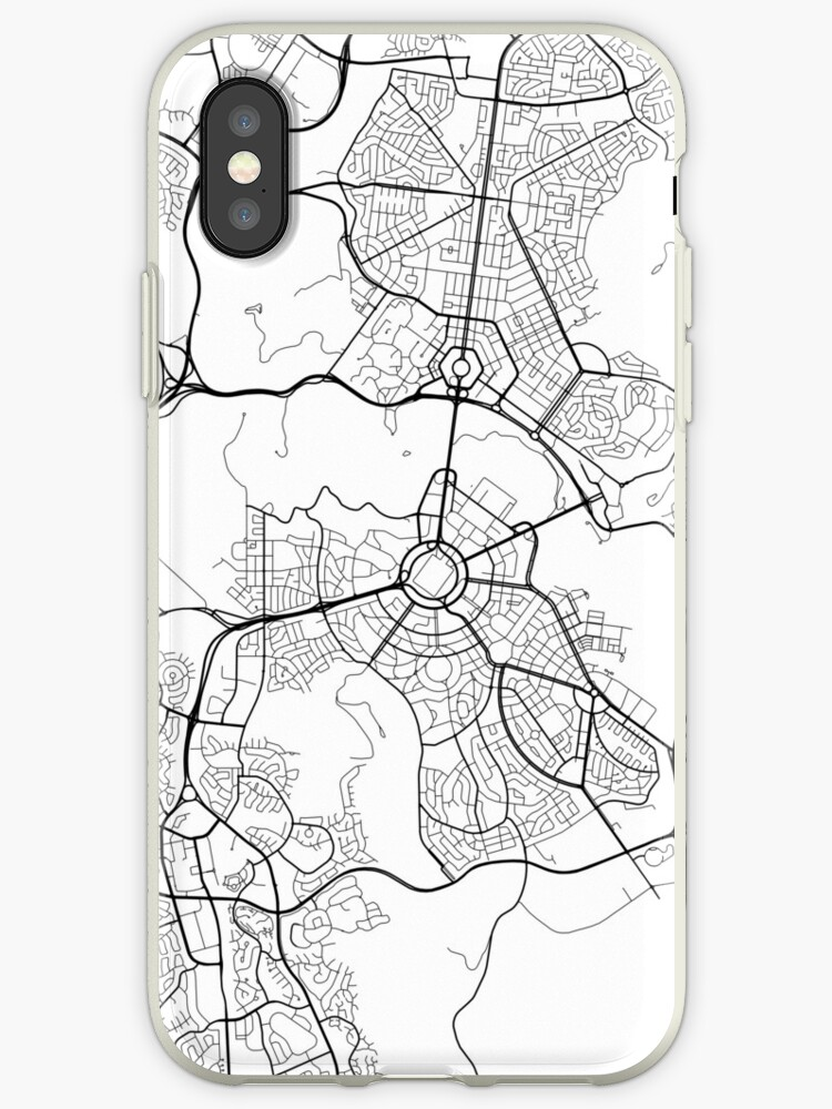 Australia Canberra Map.Canberra Map Australia Black And White Iphone Cases Covers By