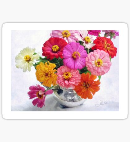 Zinnia Blooms Still Life Sticker