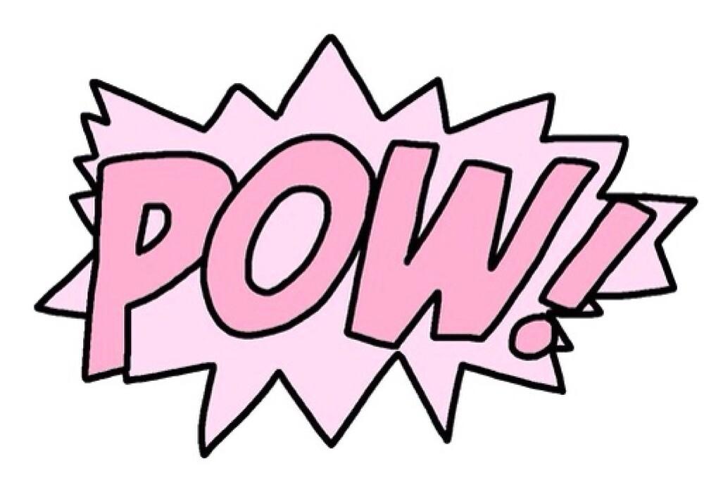 Pow Superhero Tumblr Kawaii Pink By Tashtashtash Redbubble