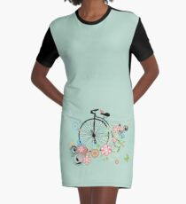 Bicycle and Floral Ornament 2 Graphic T-Shirt Dress