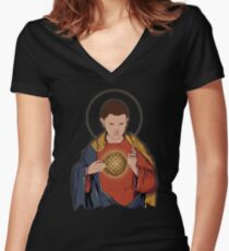 Our Lady 11  Women's Fitted V-Neck T-Shirt