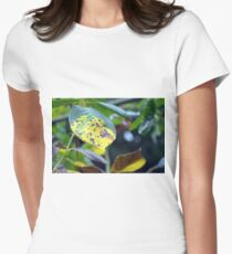 Macro on green and yellow leaves. Womens Fitted T-Shirt