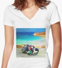 Italian lifestyle watercolor painting Women's Fitted V-Neck T-Shirt