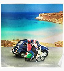Italian lifestyle watercolor painting Poster