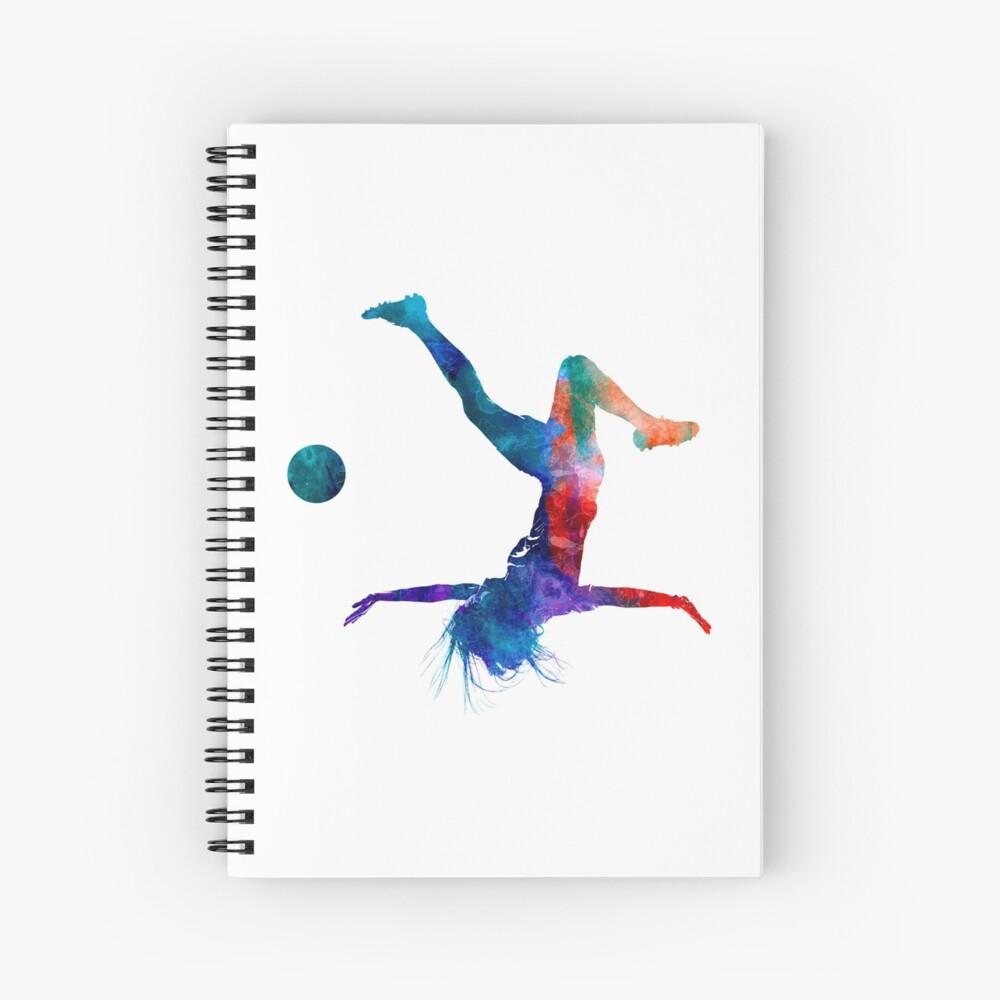 Jugador de fútbol femenino 08 en acuarela Cuaderno de espiral