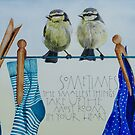 Bluetits on the washing line by samcannonart