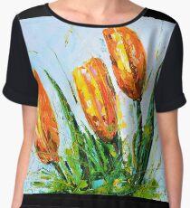 Yellow Tulips Chiffon Top