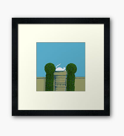 Le Chat Blanc! Framed Print