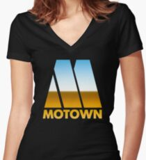 MOTOWN DISCO RECORDS (MIRROR 80s) Women's Fitted V-Neck T-Shirt