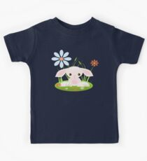 Little Pink Baby Bunny With Flowers Kids Tee