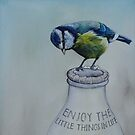 Blue tit on the milk bottle by samcannonart