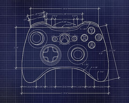 Xbox 360 controller top blue print posters by for Blueprint size prints