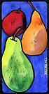 Three Pears on Blue by TangerineMeg