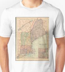 Vintage Map of New England (1880) Unisex T-Shirt