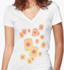 Floating Lanterns Gleam Women's Fitted V-Neck T-Shirt