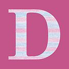 Letter D Blue And Pink Dots And Dashes Monogram Initial by theartofvikki