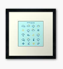 Forecast Weather and Seasonable Icons Set Framed Print
