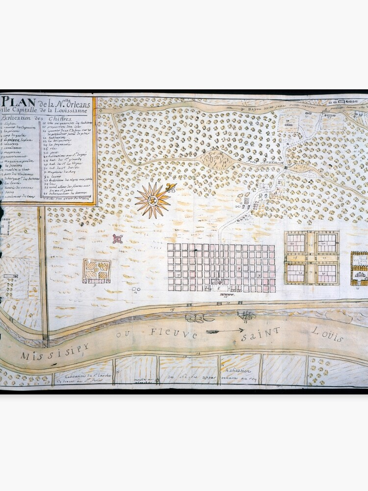 graphic about Printable Map of New Orleans named Typical Map of Clean Orleans Louisiana (1747) Canvas Print