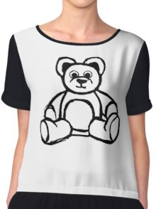 Cartoon Teddy Bear Doodle Chiffon Top