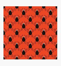Halloween spiders simple pattern. Cute seamless background.  Photographic Print