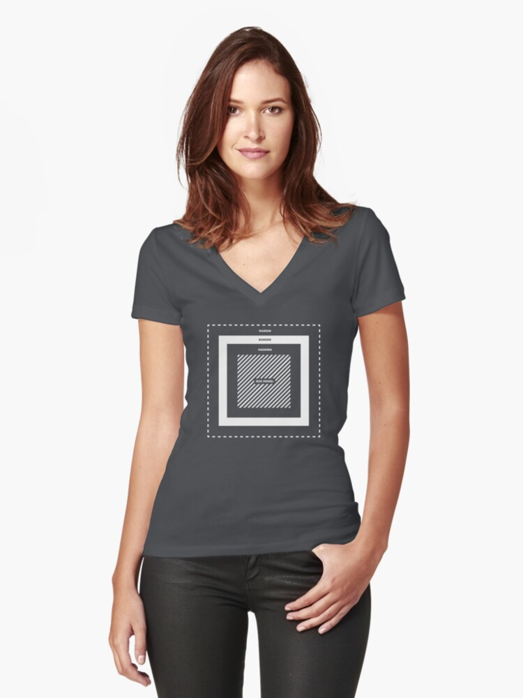 CSS Box Model Women's Fitted V-Neck T-Shirt Front