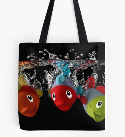 Three Toy Fish With Splash Tote Bag