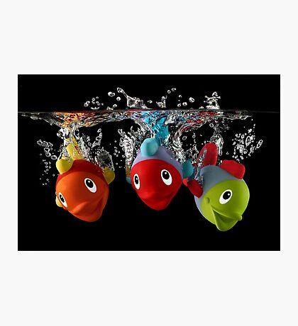 Three Toy Fish With Splash Photographic Print