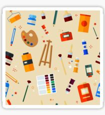 Tools and Materials for Creativity and Painting Seamless Pattern Sticker