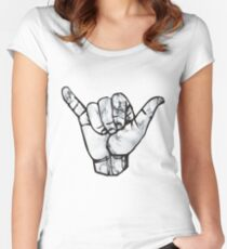 Shaka Hand Marble Women's Fitted Scoop T-Shirt