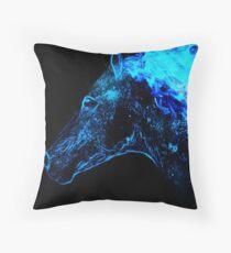 Blue fire horse spirit Throw Pillow