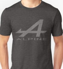 Alpine Alphabet Logo WHT Distressed Unisex T-Shirt