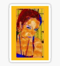 Women, abstract, yellow, red and blue contrast art Sticker