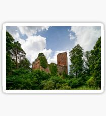 Old medieval fortress ruins of Chateau Landsberg in deep forest, Alsace, France Sticker