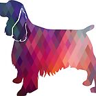 Springer Spaniel Dog Colorful Geometric Pattern Silhouette - Pink by TriPodDogDesign