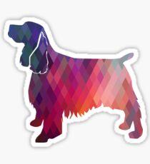 Springer Spaniel Dog Colorful Geometric Pattern Silhouette - Pink Sticker