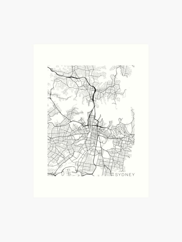 Australia Map Art.Sydney Map Australia Black And White Art Print