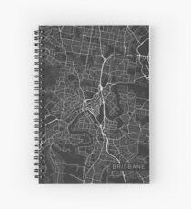 Brisbane Map, Australia - Gray Spiral Notebook