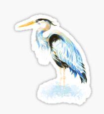 Great Blue Heron Watercolor Bird Art Sticker