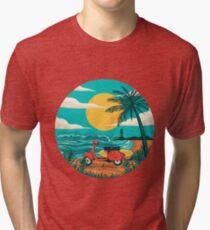 Camiseta de tejido mixto la playa