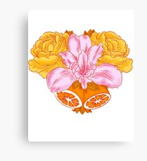 Iris, Roses, and Citrus Bouquet Canvas Print